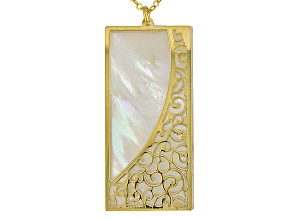 Mother Of Pearl 14k Yellow Gold Filigree Necklace 18 inch