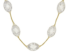 61.5ctw Cubic Zirconia 14k Yellow Gold Station Necklace 18 inch