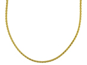 14k Yellow Hollow Wheat Link Necklace 20 inch