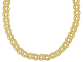 14k Yellow Gold Hollow Popcorn Link Necklace 14 inch