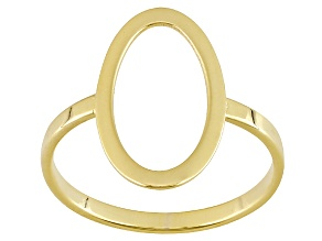 14k Yellow Gold Hollow Oval Band Ring