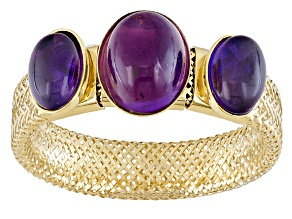 Purple Amethyst 14k Yellow Gold Mesh Stretch Ring 2.00ctw