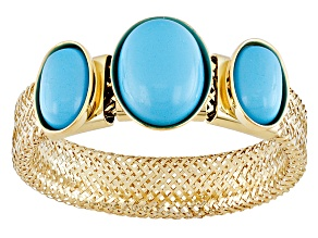 Blue Turquoise 14k Yellow Gold Mesh Stretch Ring 2.00ctw