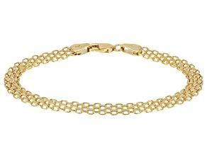 14k Yellow Gold Bismark Link Bracelet 7.5 inch