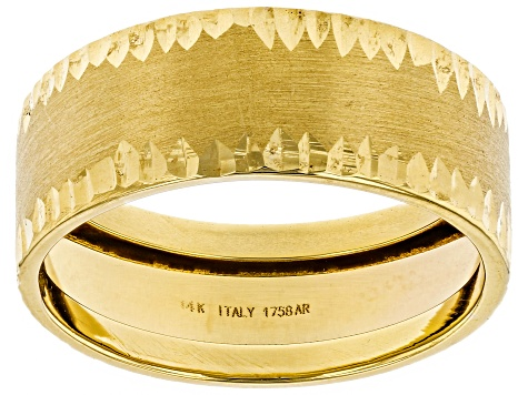 14k Yellow Gold Diamond Cut Band Ring
