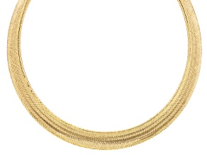 14k Yellow Gold Mesh Omega Link Necklace 20 inch