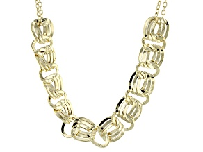 14k Yellow Gold Hollow Curb Link Necklace 18 inch