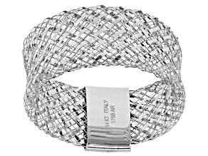 14k White Gold Mesh Band Ring