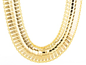 14k Yellow Gold Hollow Bar Link Necklace 18 inch