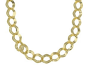 14k Yellow Gold Hollow Marquise Link Necklace 20 inch