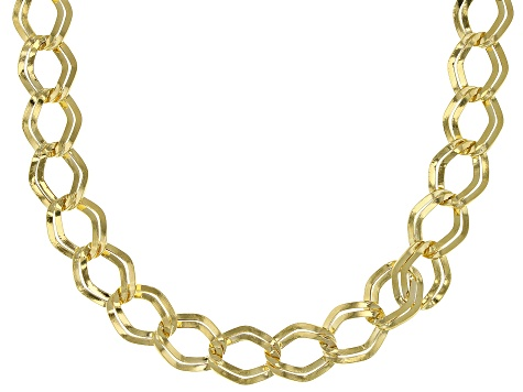 14k Yellow Gold Hollow Marquise Link Necklace 24 inch