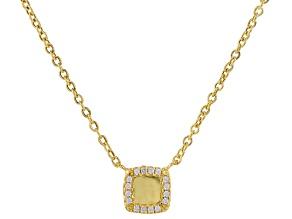 14k Yellow Gold Diamond Simulant Necklace 18 inch