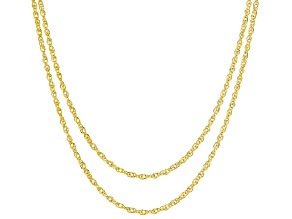 14k Yellow Gold Singapore Chain Necklace Set Of Two