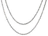 14k White Gold Chain Necklace Set Of Two