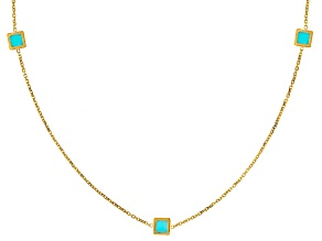 14k Yellow Gold Turquoise Simulant Station Necklace 24 inch