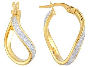 14k Yellow Gold Glitter Enamel Tube Hoop Earrings 11mm