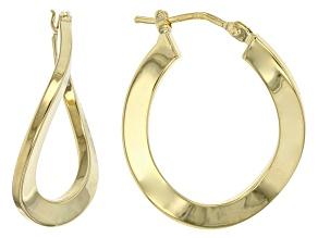 14k Yellow Gold Tube Hoop Earrings 14mm