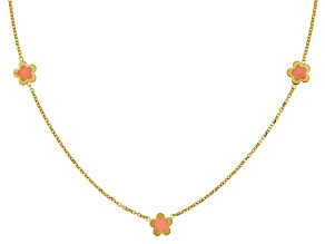 14k Yellow Gold Pink Enamel Bead Necklace 18 inch