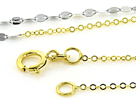 14k Yellow Gold With Rhodium Over Yellow Gold Necklace 24 inch
