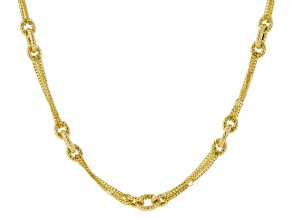 14k Yellow Gold Hollow Cable Link Necklace 22 inch