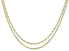 14k Yellow Gold Necklace Set Of Two 20 inch