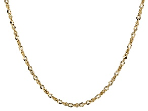 14k Yellow Gold Hollow Grande Allegro Necklace 18 inch