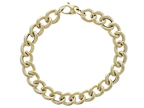 14k Yellow Gold Hollow Curb Link High Polished Bracelet 7.5 inch