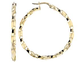 14k Yellow Gold Hollow Ribbon Reflection Hoop Earrings