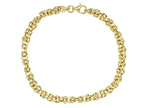 14k Yellow Gold Hollow Byzantine Bracelet 7 inch
