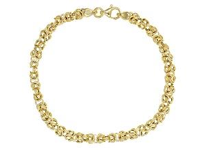 14k Yellow Gold Hollow Byzantine Bracelet 7 inch