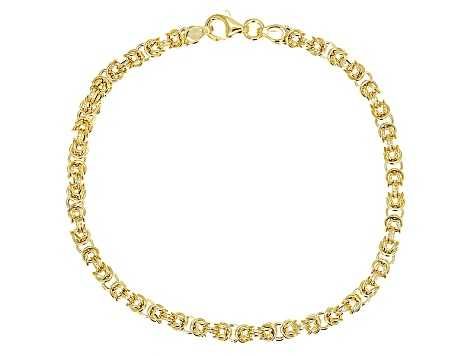 14k Yellow Gold Hollow Byzantine Bracelet 7.5 inch