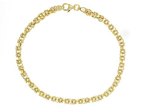 14k Yellow Gold Hollow Byzantine Bracelet 8 inch