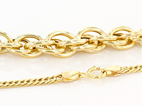 14k Yellow Gold Hollow Curb With Twisted Cable Necklace 20 inch