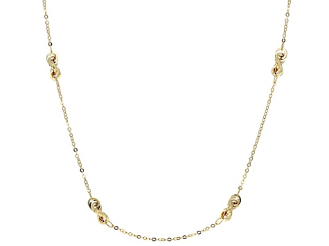 14k Yellow Gold Hollow Cable Link Station Necklace 24 inch