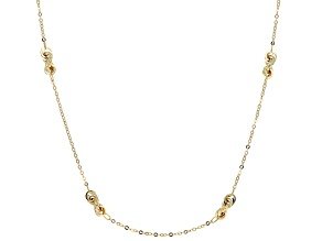 14k Yellow Gold Hollow Cable Link Station Necklace 32 inch