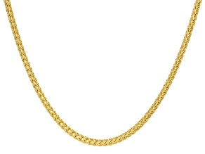 14k Yellow Gold Hollow Spiga Tapis Necklace 18 inch
