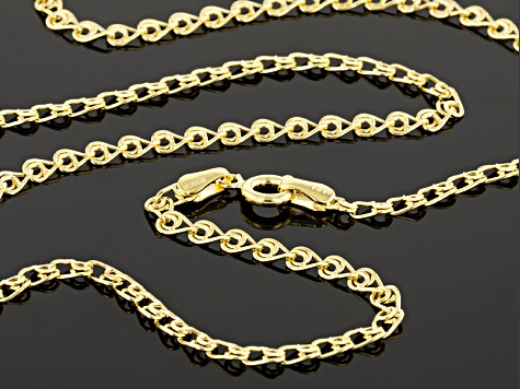 14k Yellow Gold Hollow Curb Chain Necklace 18 inch 3.0mm