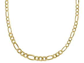14k Yellow Gold Hollow Figaro Necklace 20 inch 3.0mm