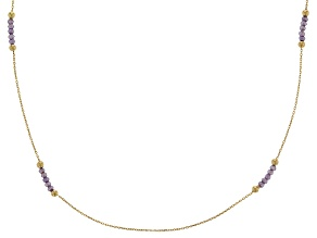 Amethyst 14k Yellow Gold Station Necklace 24 inch 2.0ctw