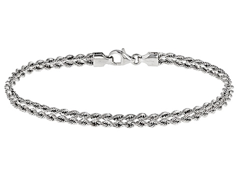 Rhodium Over 14k White Gold Hollow Rope Bracelet 7 5 Inch