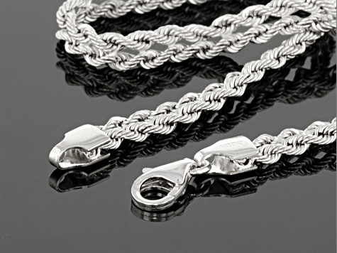Rhodium Over 14k White Gold Hollow Rope Bracelet 7.5 inch