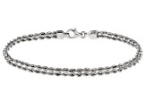 Rhodium Over 14k Yellow Gold Hollow Rope Bracelet 8 inch