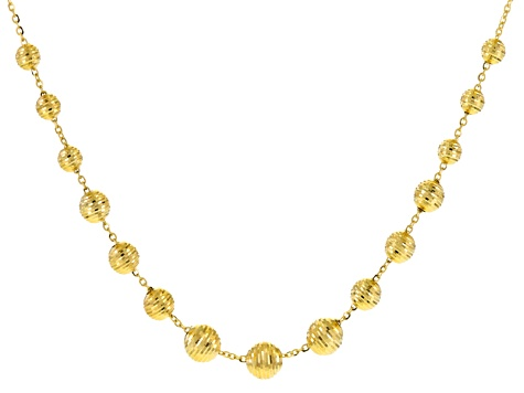 14k Yellow Gold Bead Necklace 18 inch
