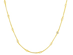 Diamond Simulant 14k Yellow Gold Necklace 9.75ctw 24 inch