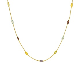 Cubic Zirconia 14k Yellow Gold Station Necklace 20 inch 4.05ctw