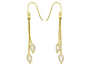Cubic Zirconia 14k Yellow Gold Dangle Earrings 2.25ctw