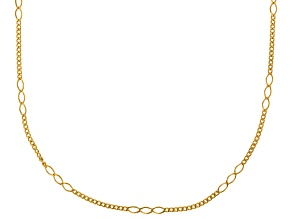 14k Yellow Gold Hollow Curb Necklace 24 inch