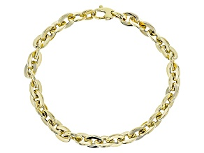 14k Yellow Gold Hollow Flat Rolo Bracelet 8 inch