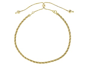 14k Yellow Gold Hollow Rope Sliding Adjustable Bracelet