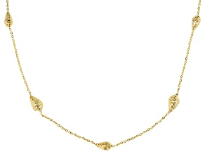 14k Yellow Gold Oval Bead Station Necklace 18 inch